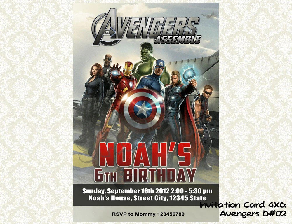 avengers invitation birthday party