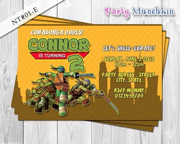 Diy Teenage Mutant Ninja Turtles Birthday Invitations Diydrywalls Org