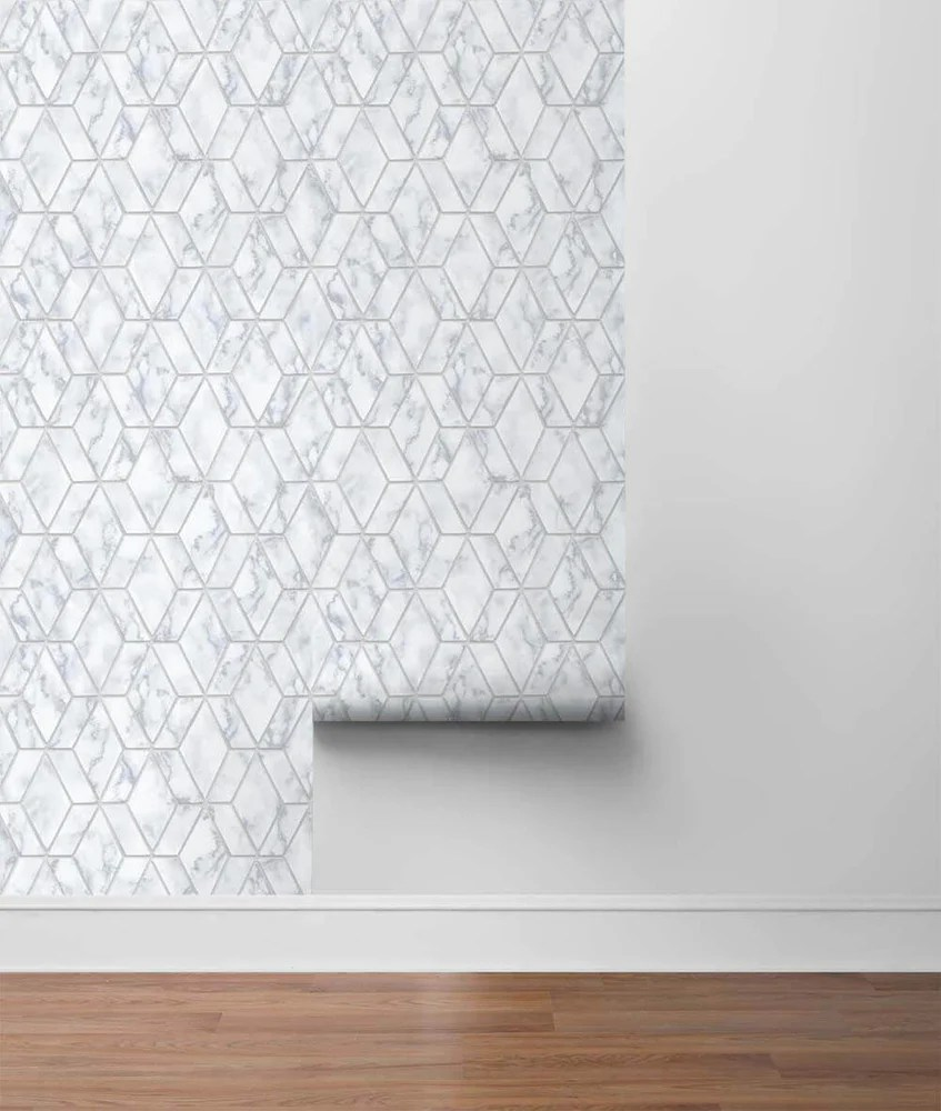 nextwall silver marble tile peel and stick removable wallpaper