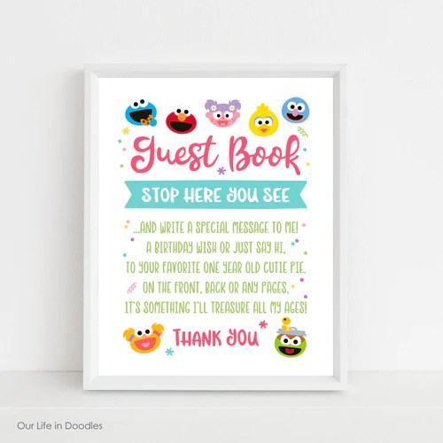 sesame street first birthday sign milestone art print elmo abby party decor printable kids room