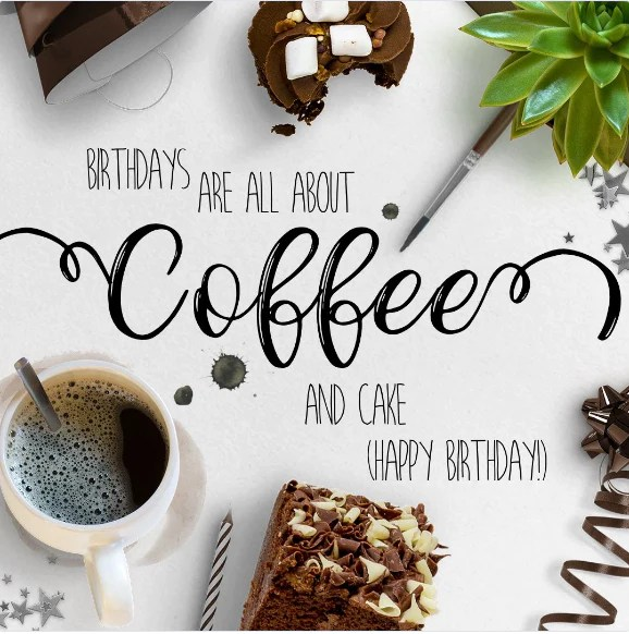 Coffee And Cake Birthday Card Digital Greeting Cards