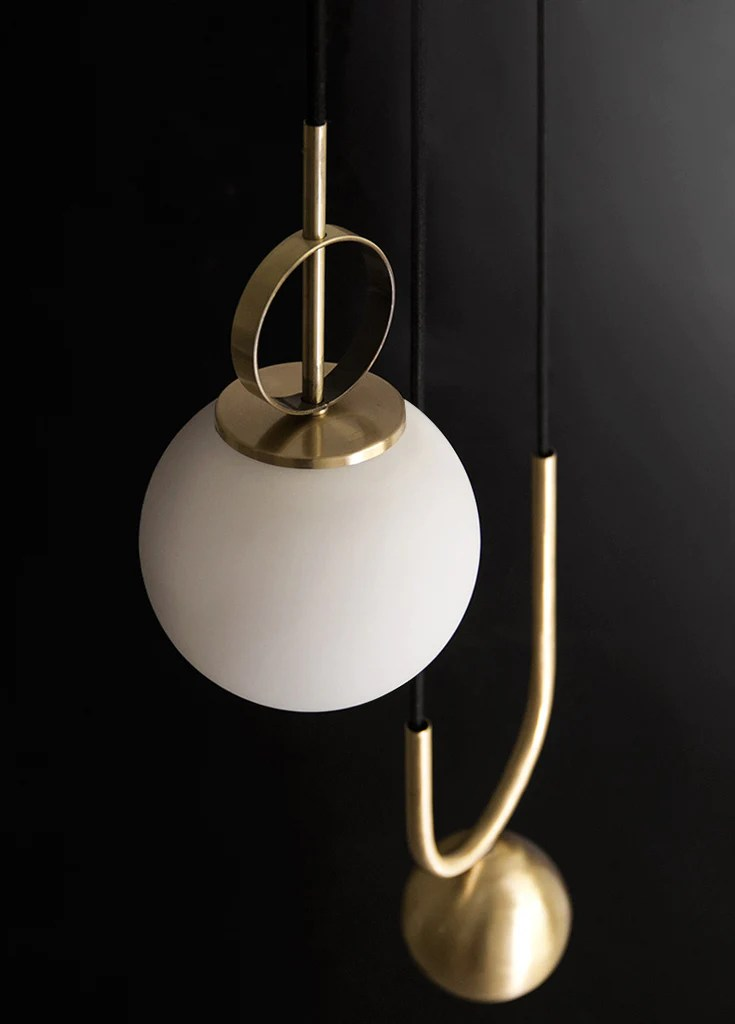 cradle brass mid century pulley pendant