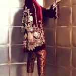 Maroon Velvet Suit With Pakistani Pant Panache Haute Couture