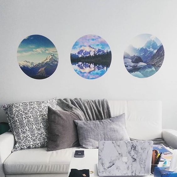 Wall Decor Essentials for Your First Adult Apartment | Adhesive Circular Cutouts by @wallsneedlove are a fun, REMOVABLE and inexpensive way to upgrade the art on your walls.