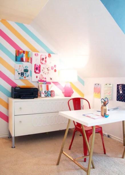 Colorful diagonal wall stripes