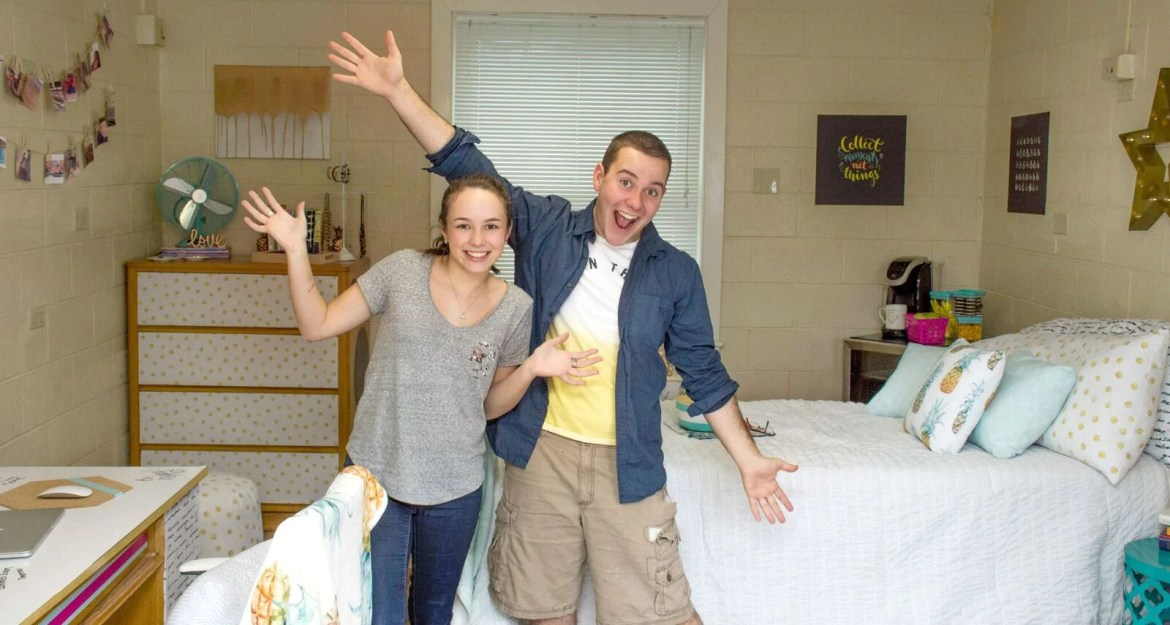After! Tanner and Courtney created such a fun and functional dorm room fit for any college student!