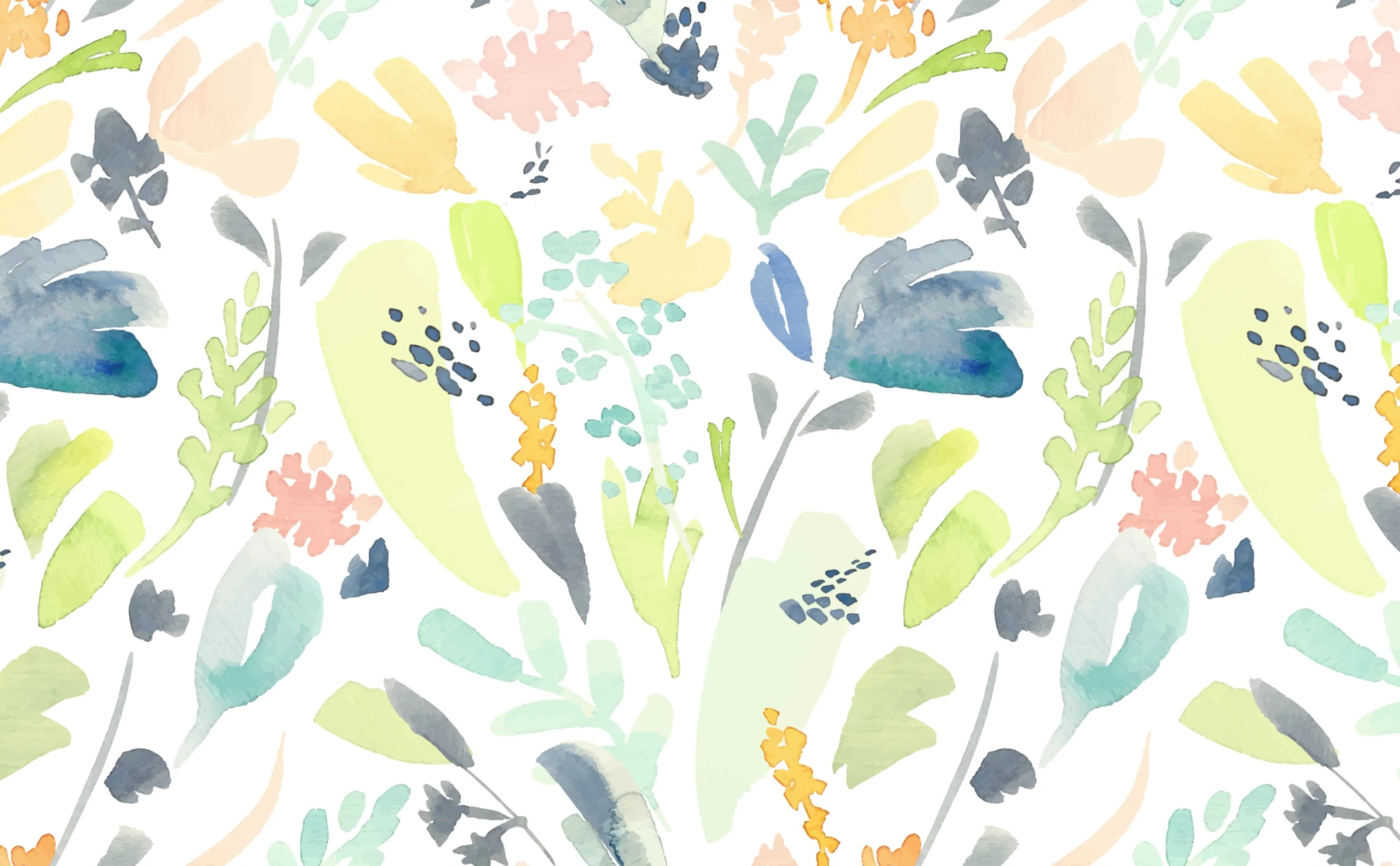 Watercolor Floral Pattern Wallpaper For Walls Pastel Flowers
