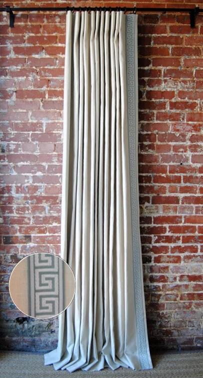 Solid Drapery Panel With Greek Key Trim Classic Linen