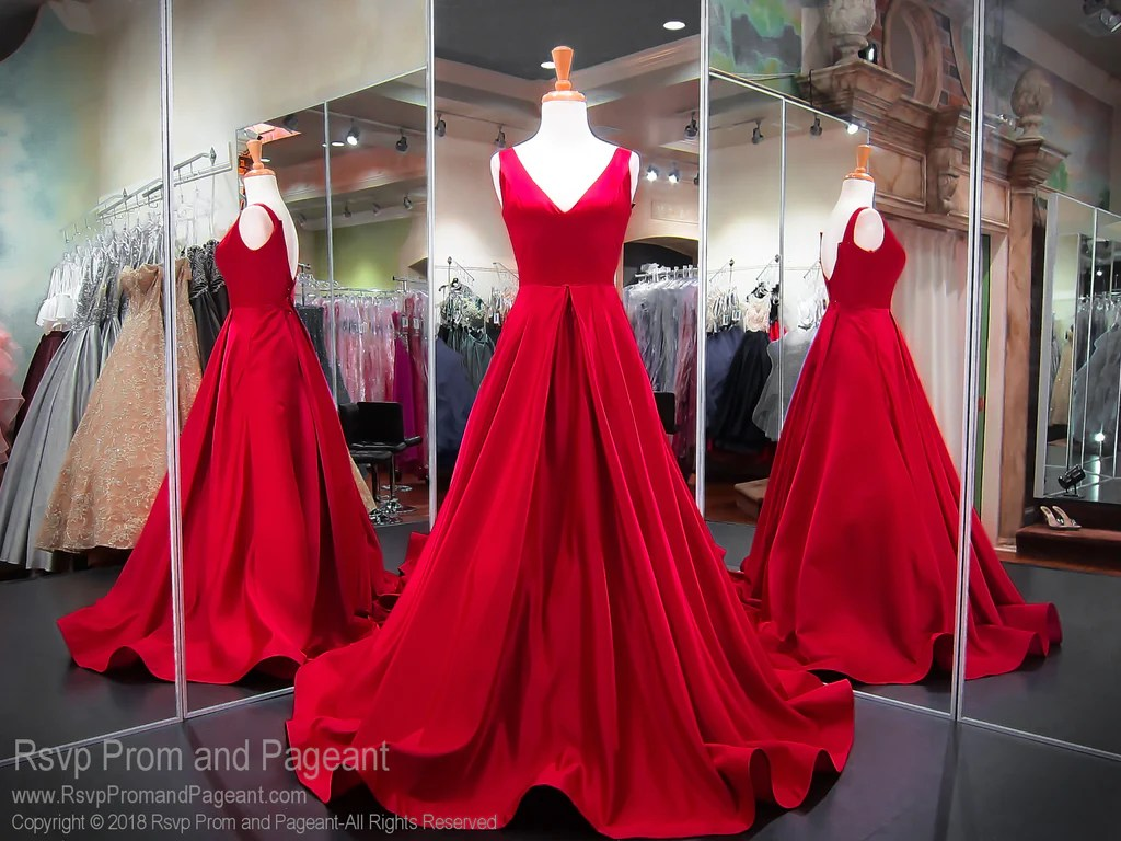 Red Satin V-Neck Ball Gown Prom Dress / Rsvp Prom And Pageant