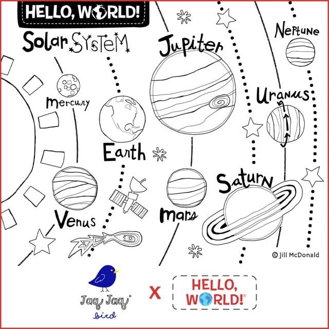 Hello, World! Printable Coloring Sheet — Solar System – Jaq Jaq Bird