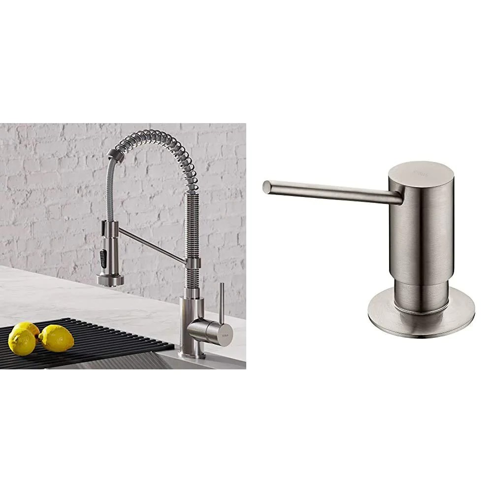 kraus kpf 1610ss bolden 18 inch commercial kitchen faucet with dual function pull down sprayhead in all brite finish stainless steel ksd 41ss