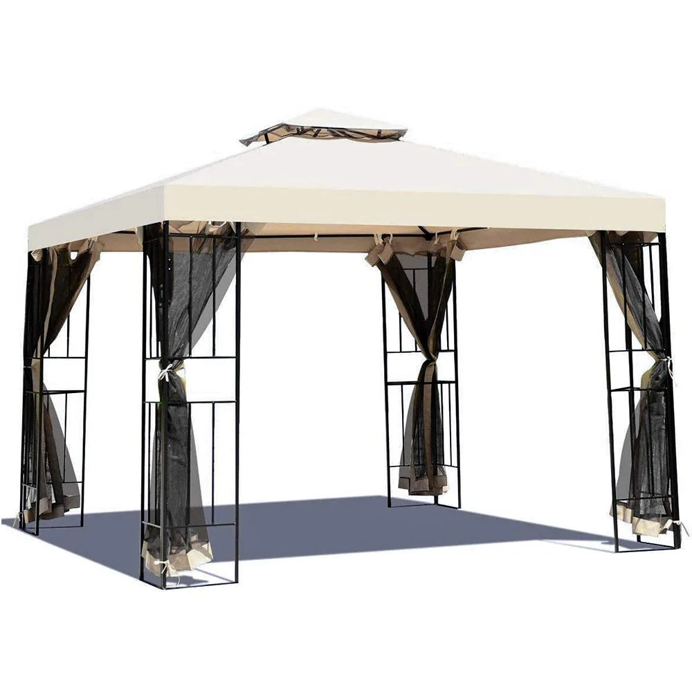 grand patio 10x10 ft patio gazebo outdoor canopy with net patio tent for backyard party event