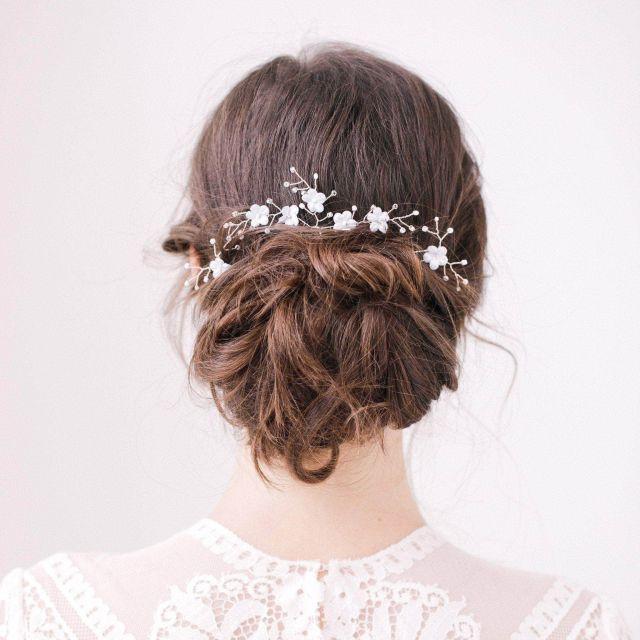 blue flower wedding hair pins with silver sprays set (x3) - 'hope'