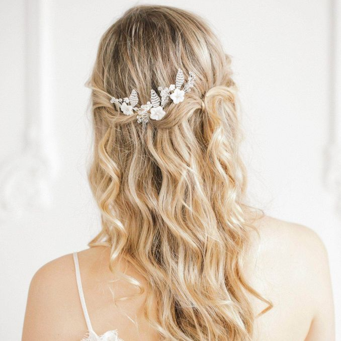 mother of pearl flower wedding hair pins (x3) - 'blossom'