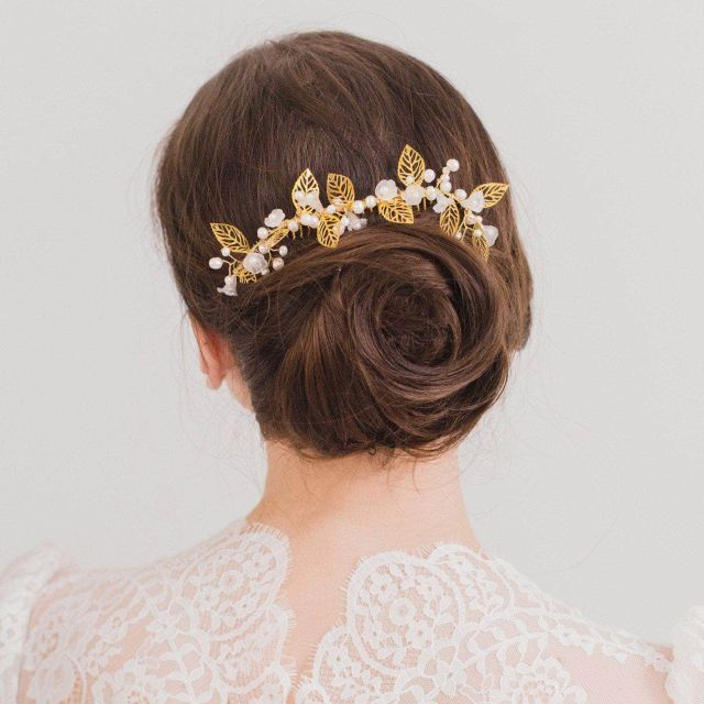 gold leaf and pearl wedding hair comb - 'istria'
