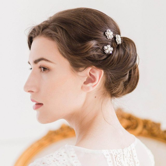 silver flower wedding hair pins in crystal and pearl (x3) - 'ema'