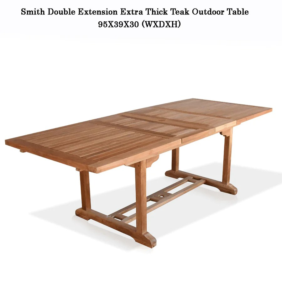 new 9pc grade a teak outdoor dining set one double extension table 95x40 8 patara stacking arm chairs cushions