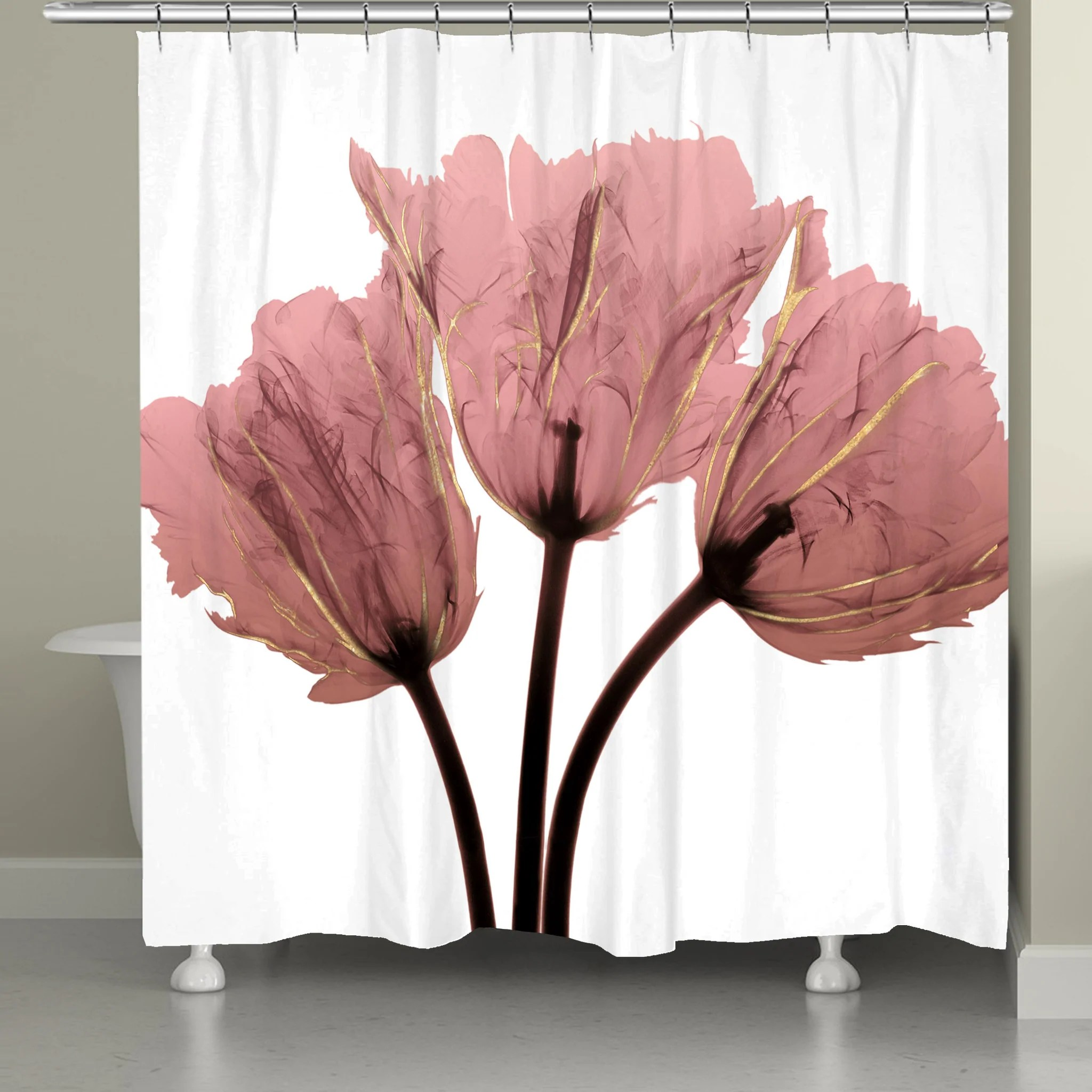blush pink tulips x ray shower curtain