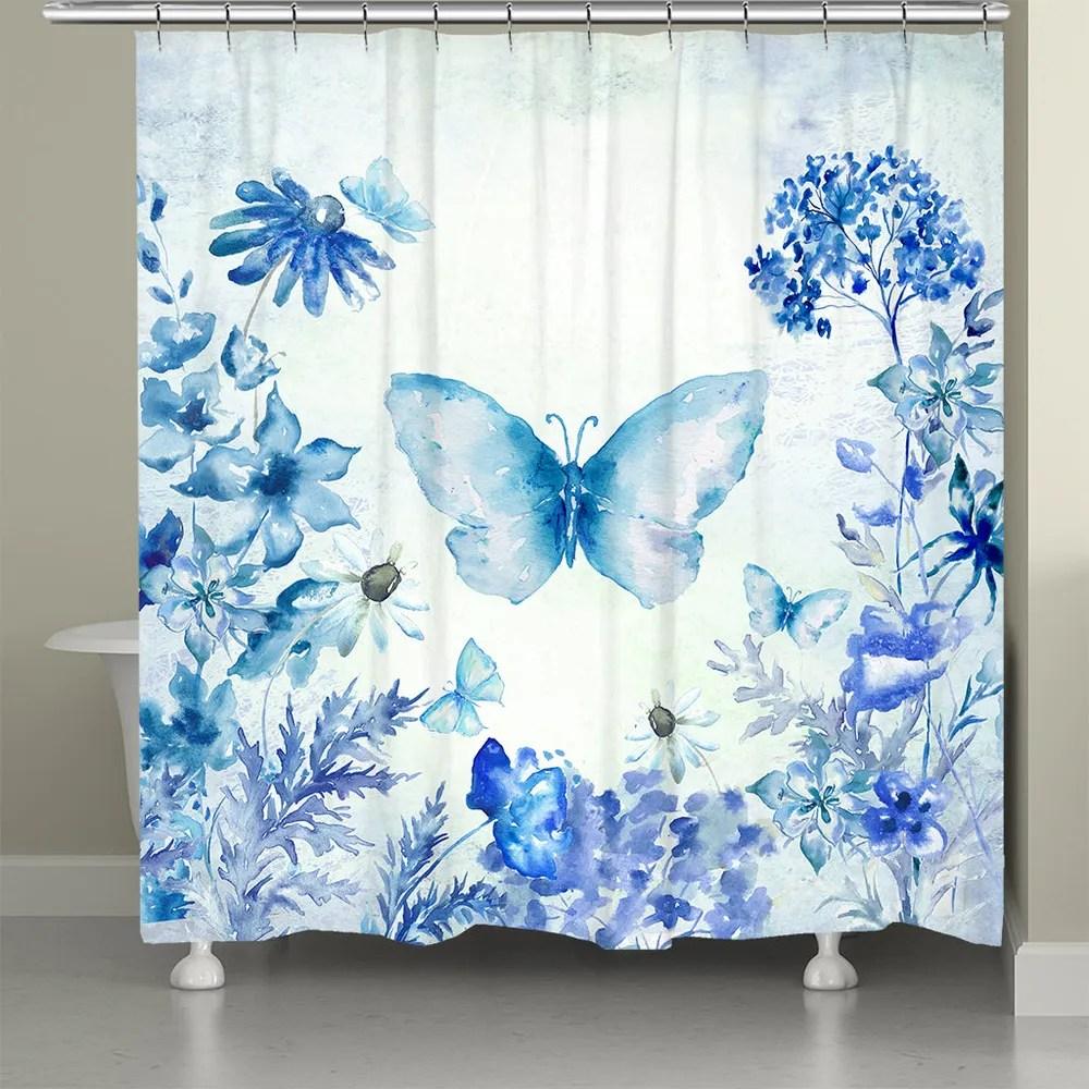 botanical butterfly shower curtain