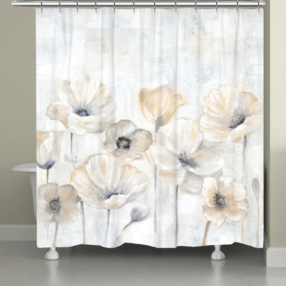 gray poppy garden shower curtain