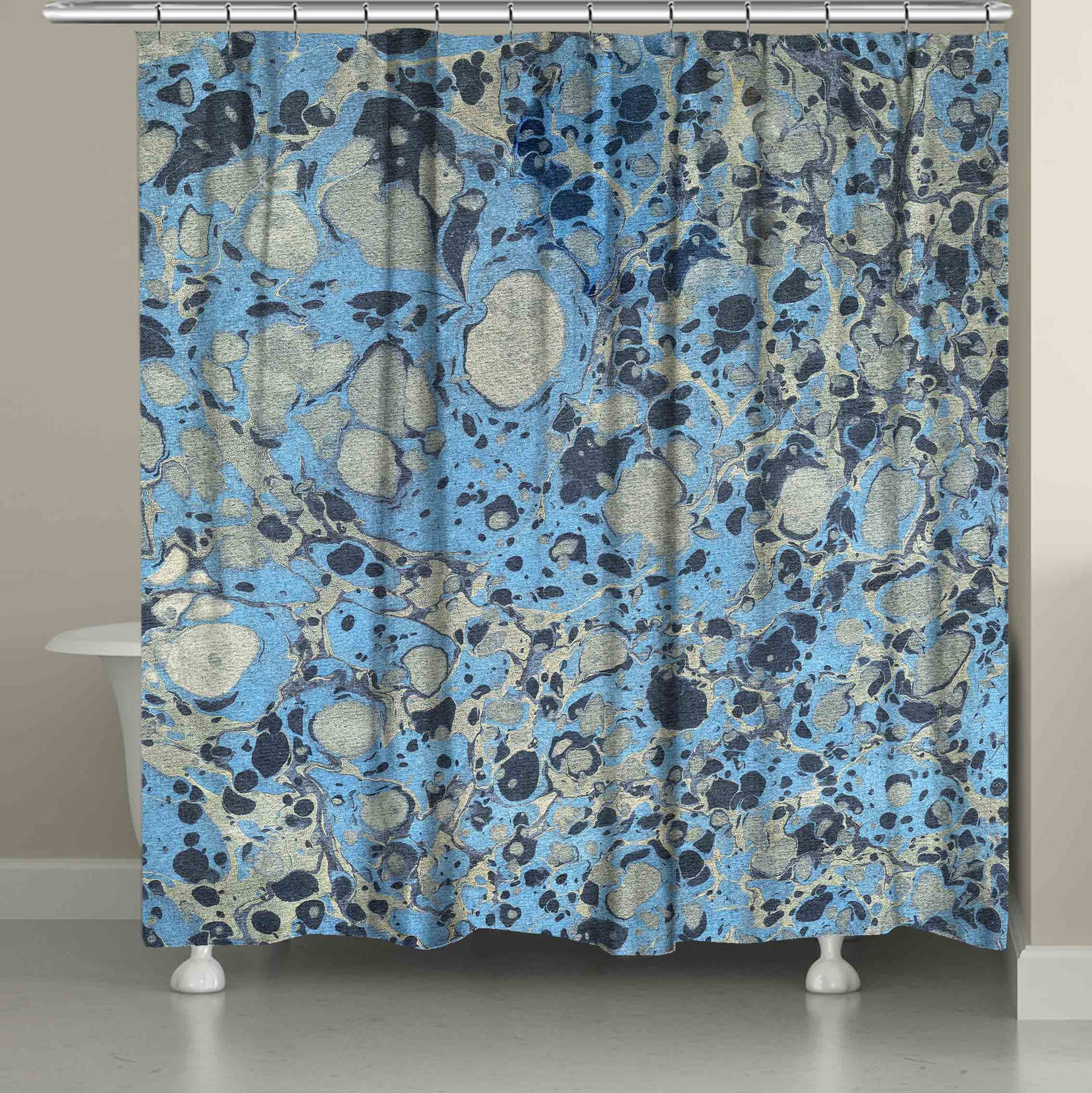 silver blue marble shower curtain
