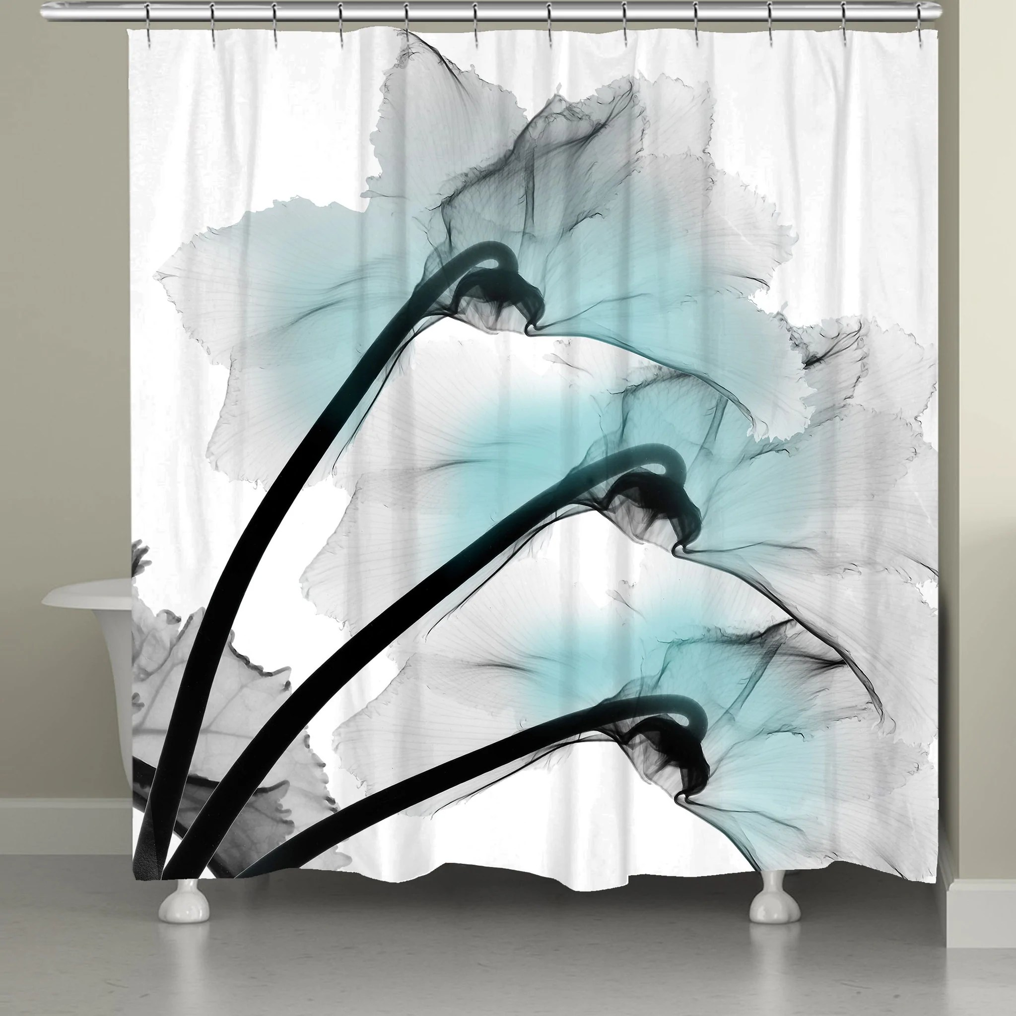 blue orchid x ray flowers shower curtain