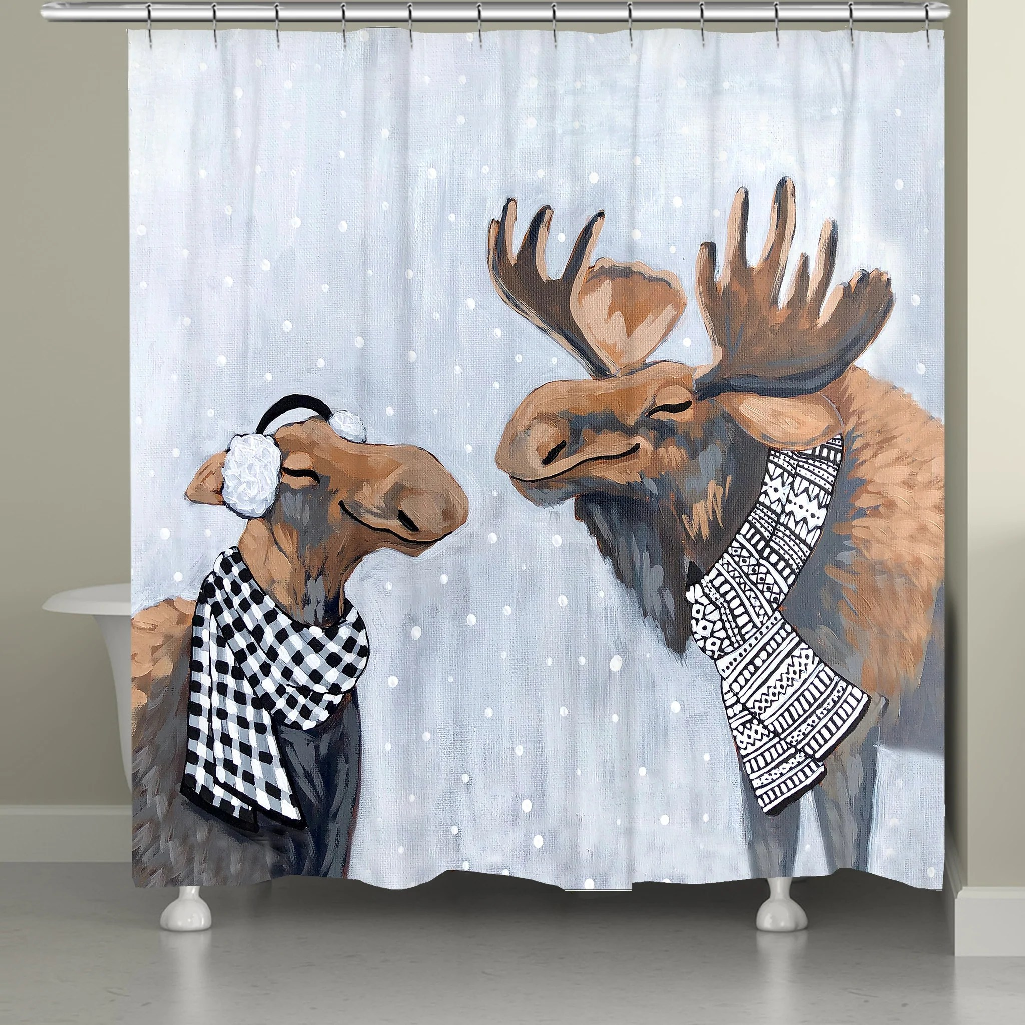 moose snow day shower curtain