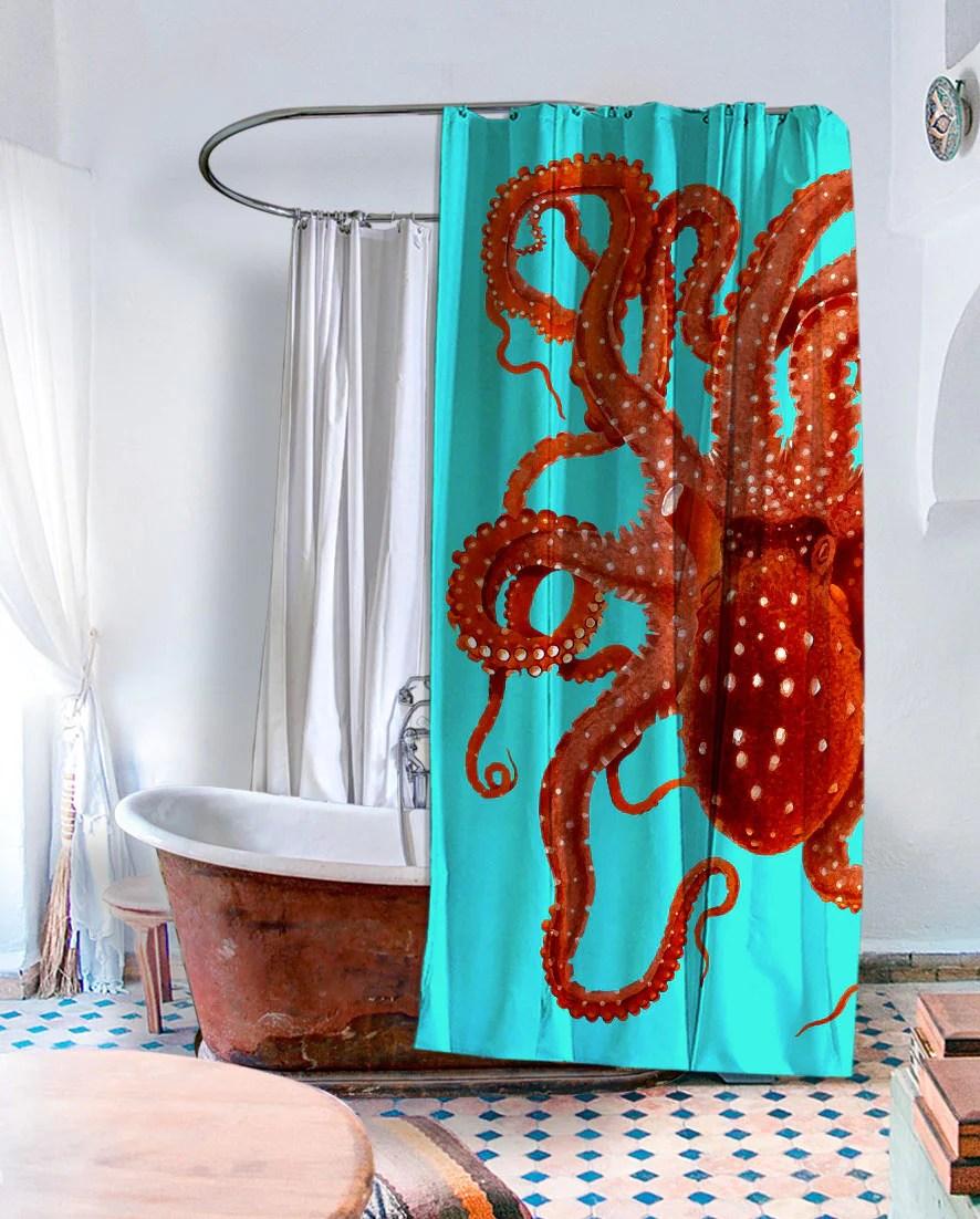 killer octopus shower curtain