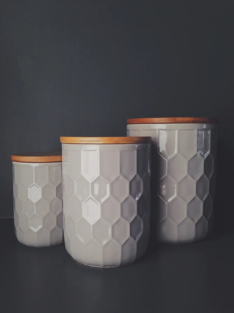 Set Of 3 Geometric Design Storage Jars With Bamboo Lids Homeplace