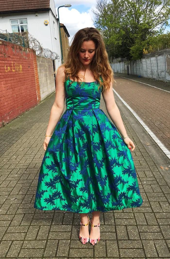 Elisalex in a Kim bodice with a tea-length skirt