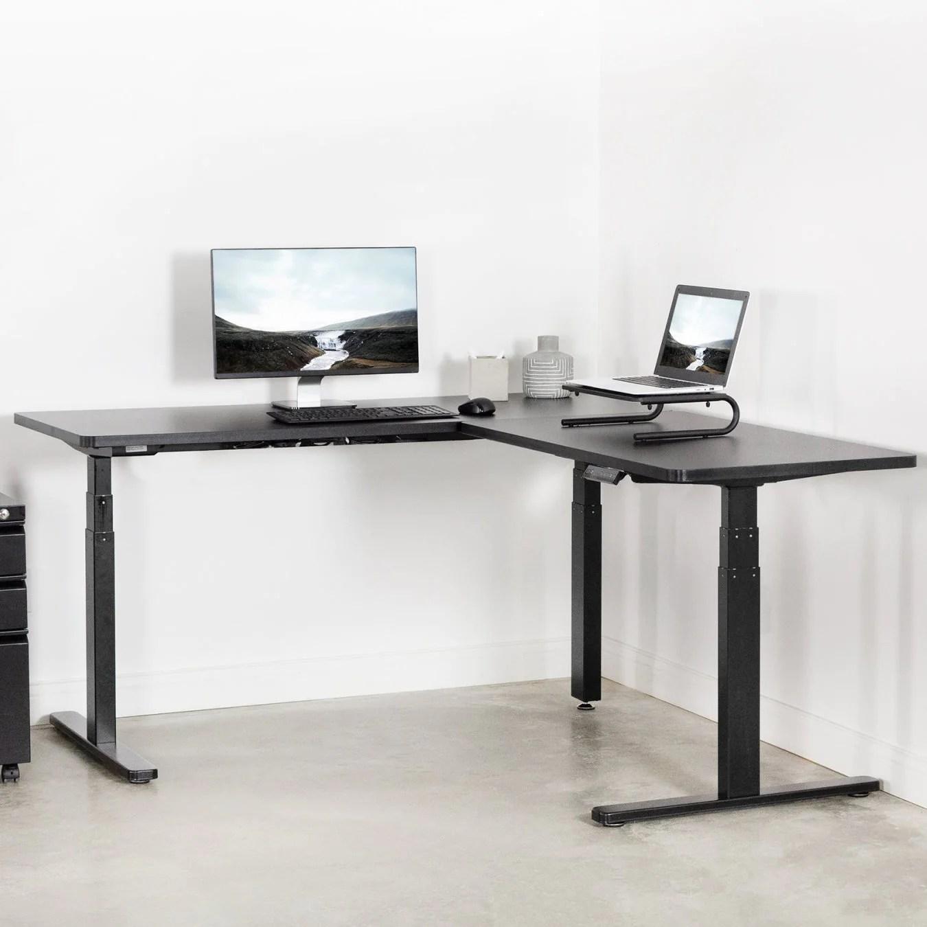 Vivo 67 X 60 Corner L Shaped Standing Desk Black Ergo Standing Desks