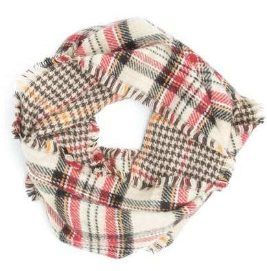 Cream Houndstooth & Plaid Reversible Oversized Table Runner Scarf Shawl - Extra Long Thick & Wide