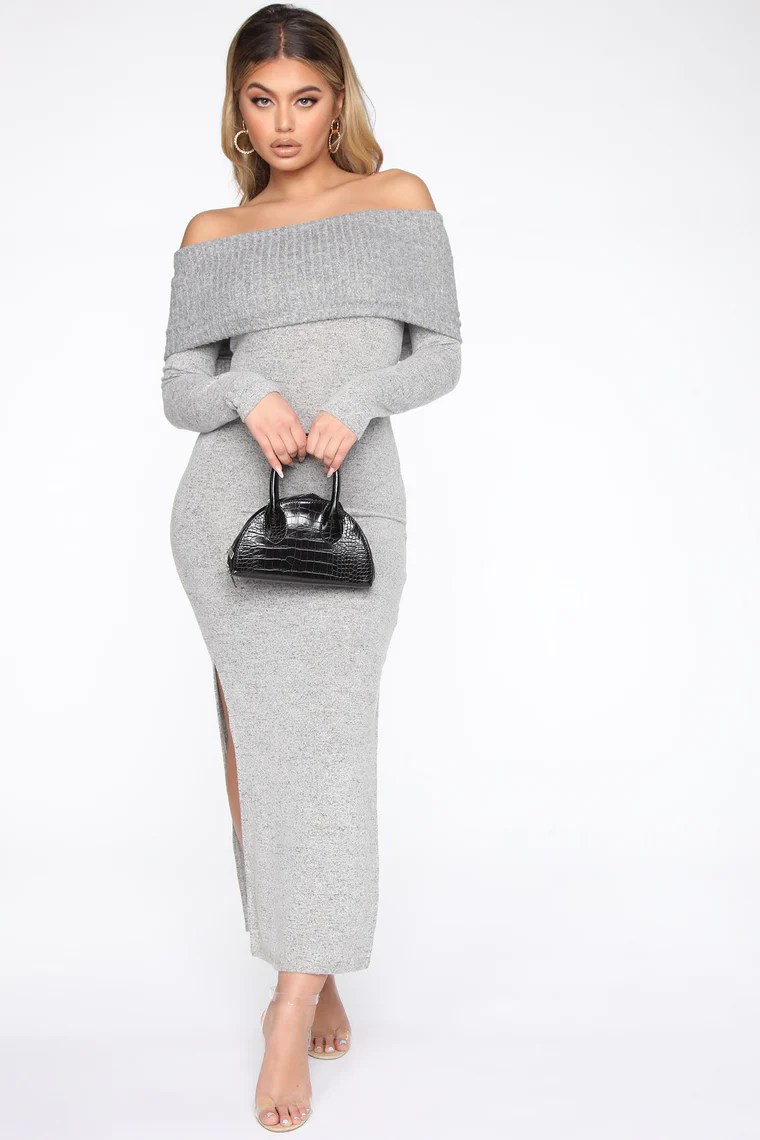 Taken Knit To The Maxi Dress - Grey 11