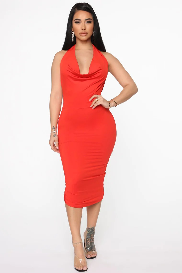 Down For Tonight Midi Dress - Orange 2