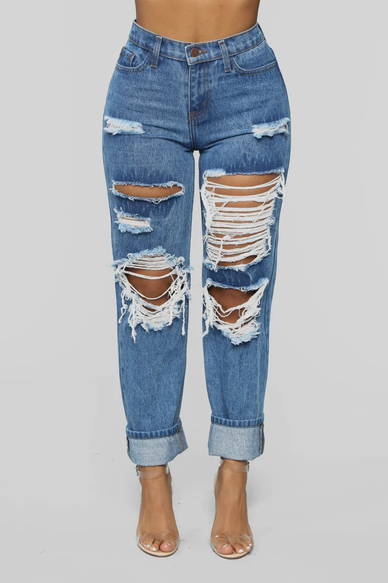 Worth It Distressed Boyfriend Jeans - Medium Blue Wash 17