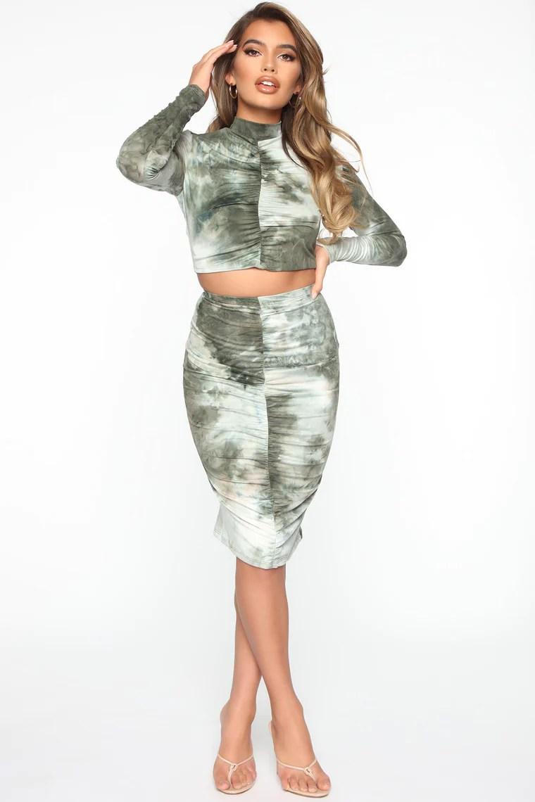 Thinking Sweet Tie Dye Skirt Set - Olive/combo 2