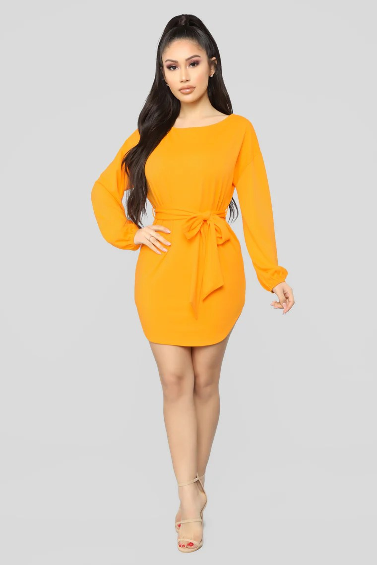 Cute And Cozy Mini Dress - Yellow 4