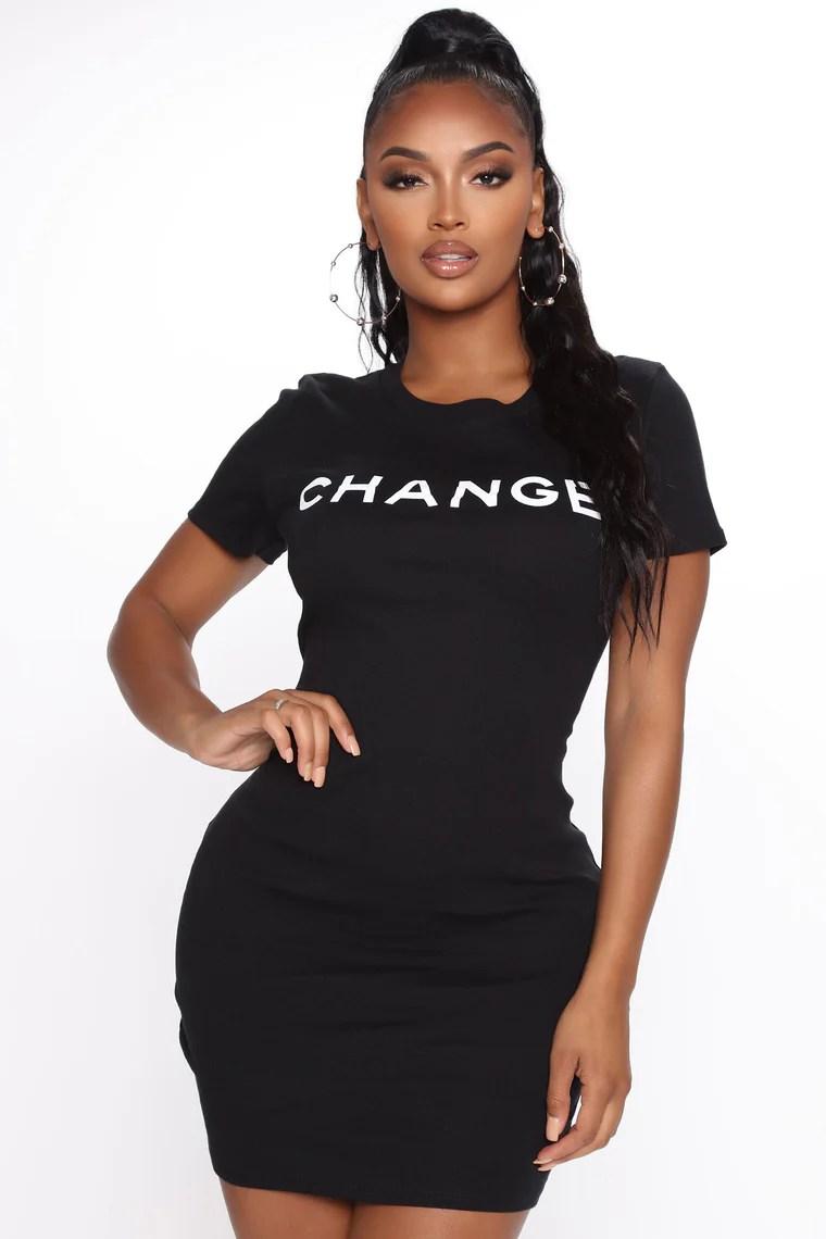 Won't Change My Mind Mini Dress - Black 2