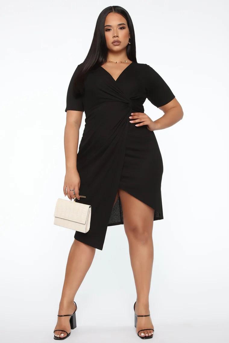 So Twisted Ribbed Midi Dress - Black 2