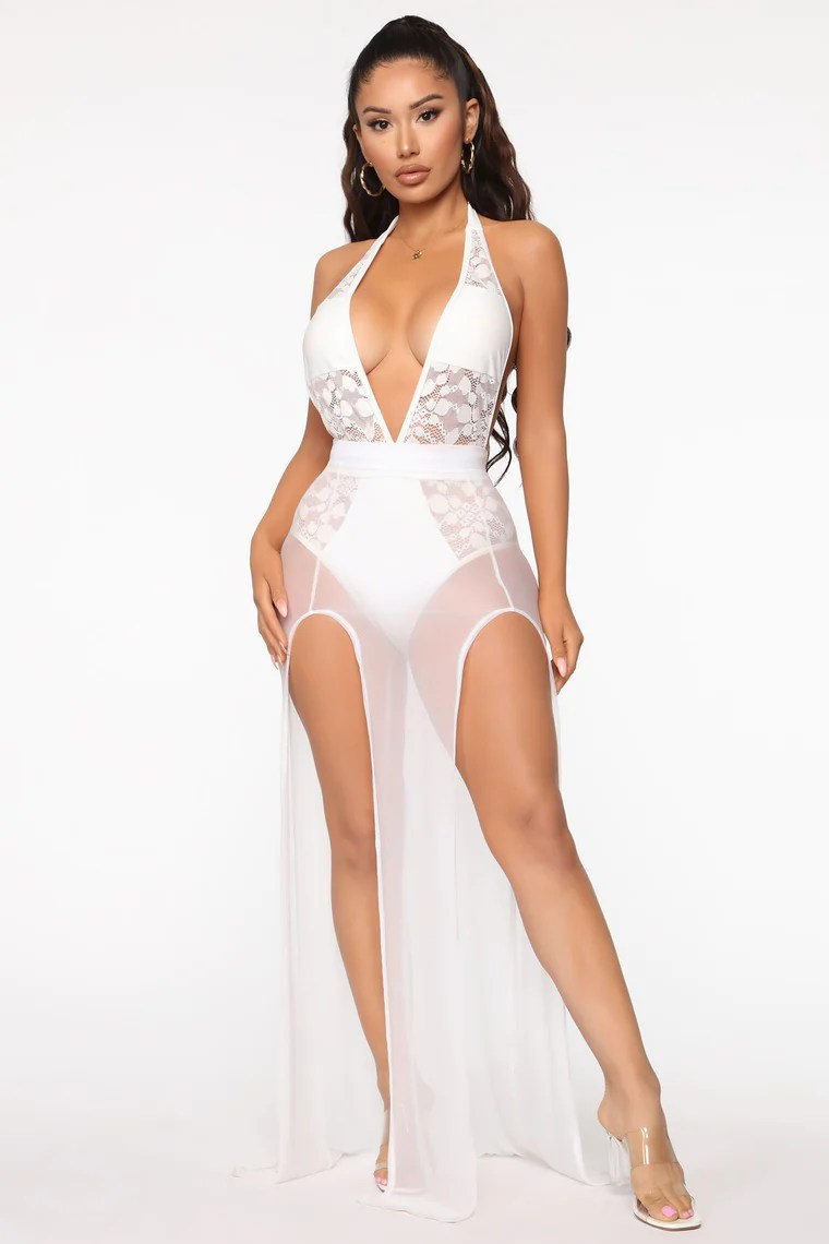 Sun Kissed Mesh Cover Up Maxi Skirt - White 8