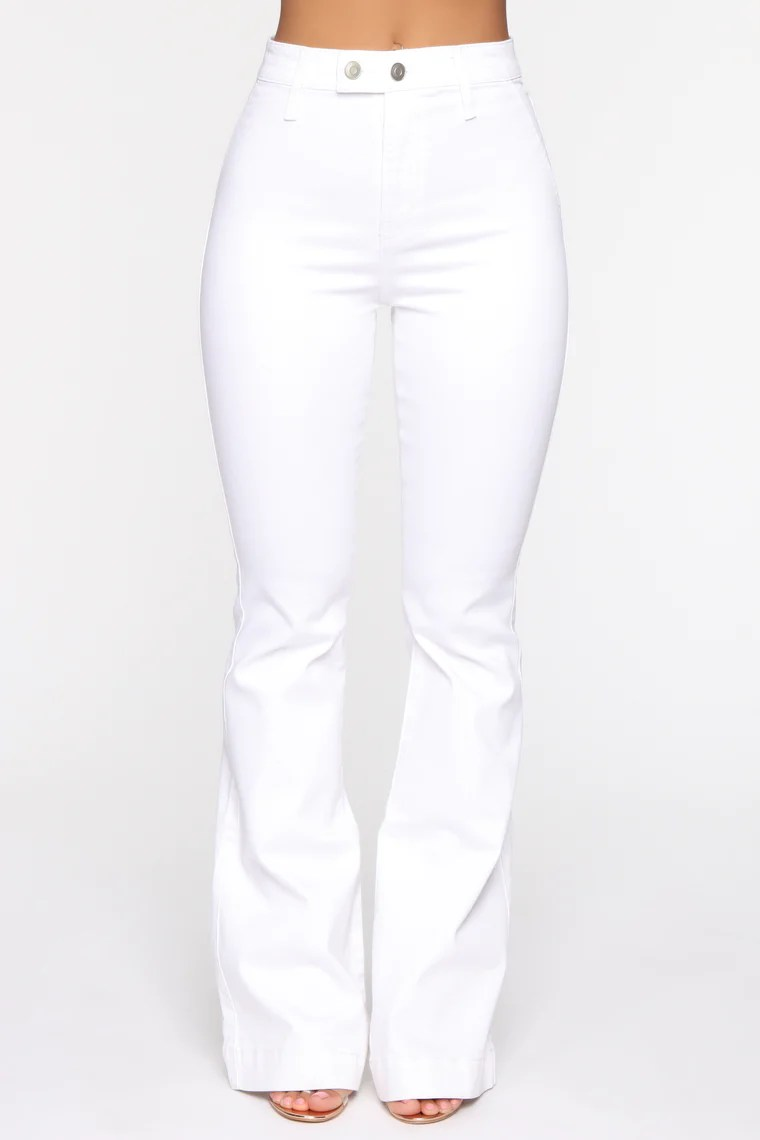 Janelle High Waist Trouser Flare Jean - White 5