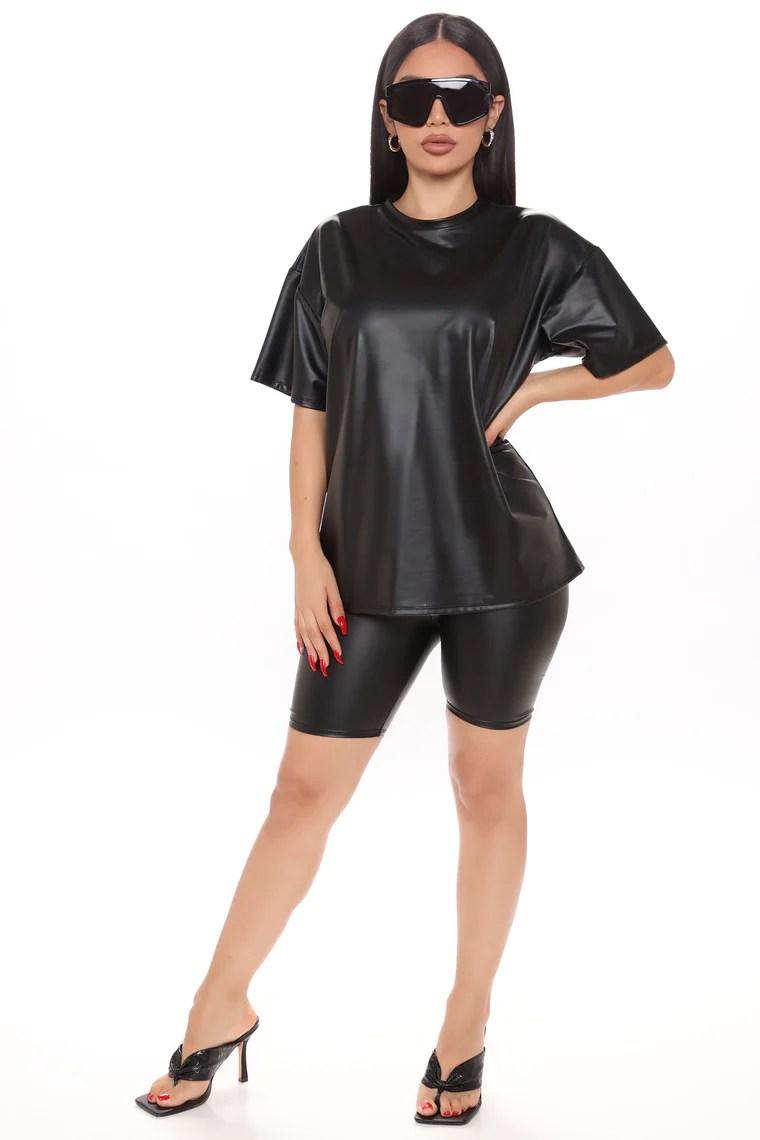 Chelsea Faux Leather Biker Short Set - Black 10