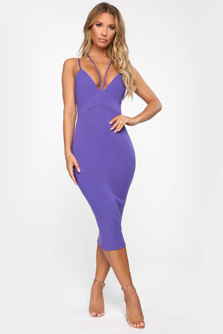 Multiple Strings Attached Strappy Midi Dress - Violet 4