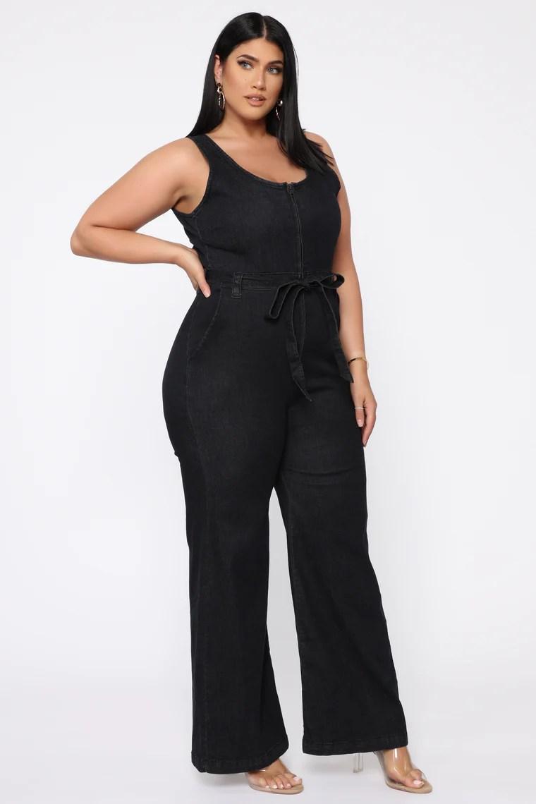 Have A Hunch Denim Jumpsuit - Black 15