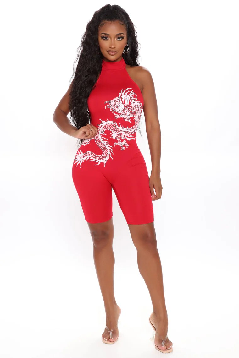 Fierce Dragon Romper - Red/combo 9