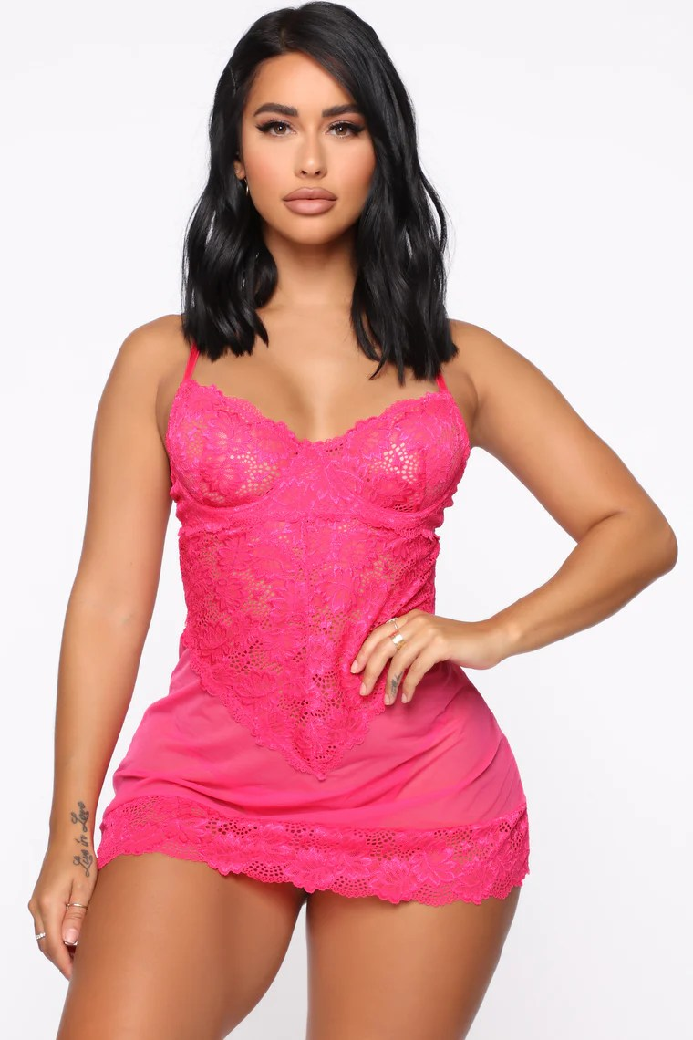 Keep Her Secret Lace Babydoll - Hot Pink 2