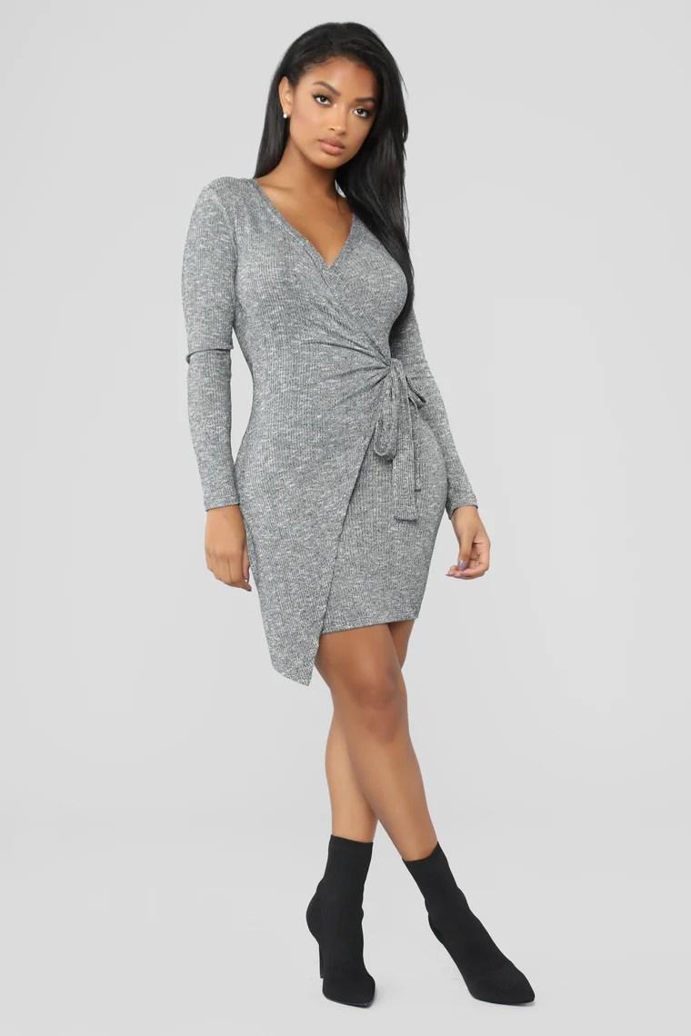 Natasha Wrap Dress - Heather Grey 4