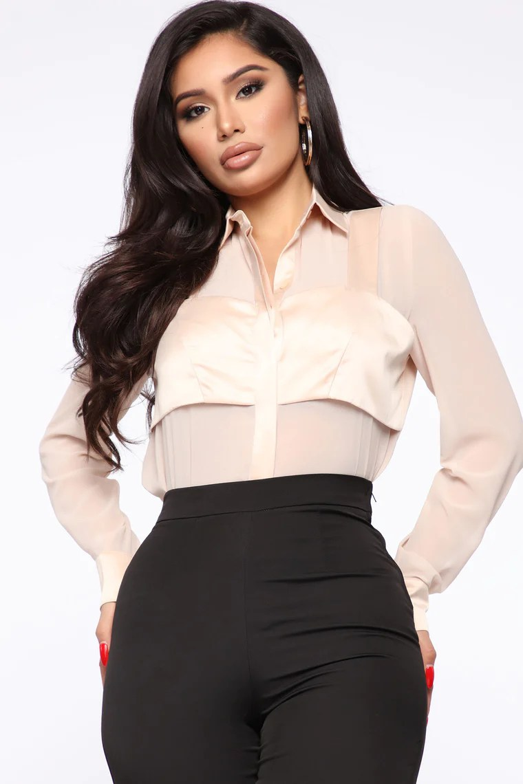 Just Us Two Button Up Shirt - Nude 2