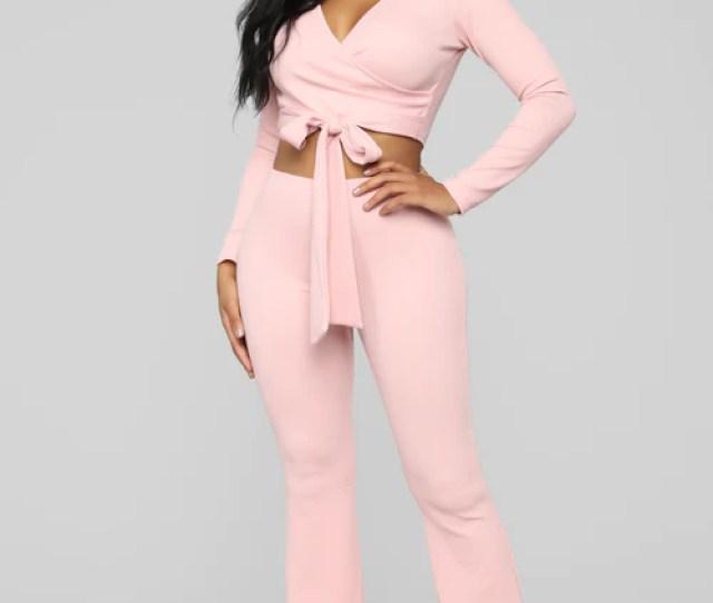 Pretty Tight Knit Ribbed Pant Set Light Pink