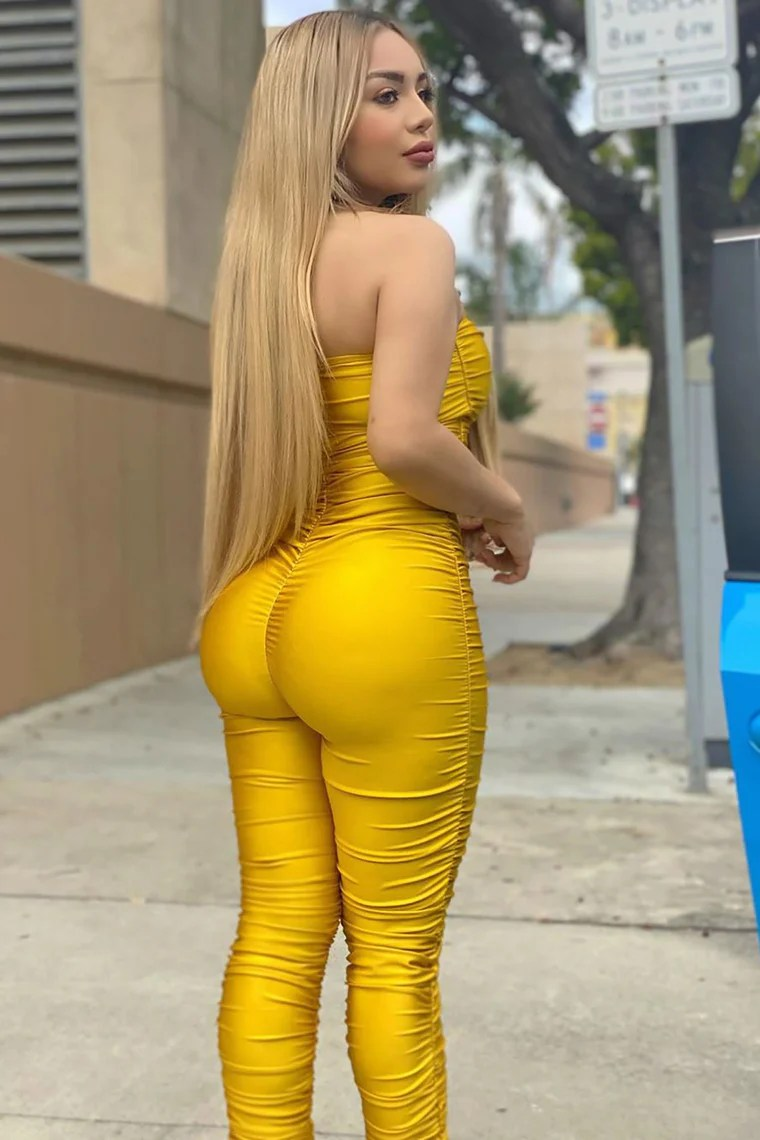 Covered In Ruching Jumpsuit - Mustard 6